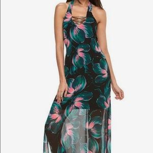 Jennifer Lopez Floral Halter Maxi Dress